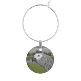 African Grey Lakeside Wine Glass Charms