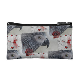 African Grey Love Letters Cosmetic Bag