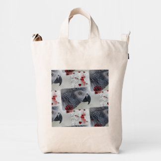 African Grey Love Letters Duck Bag
