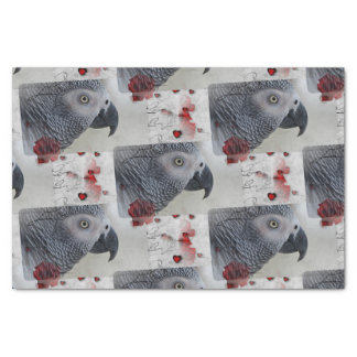 African Grey Love Letters Tissue Paper