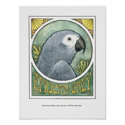 African Grey Nouveau posters