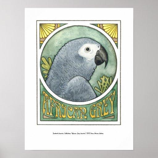 African Grey Nouveau Poster