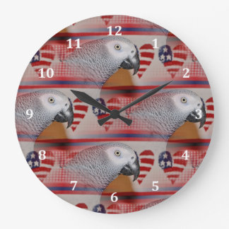 African Grey Parrot 4th of July Large Clock
