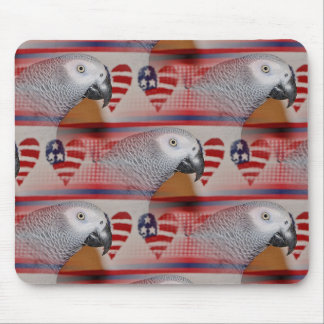 African Grey Parrot 4th of July Mouse Pad
