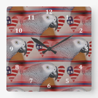 African Grey Parrot 4th of July Square Wall Clock