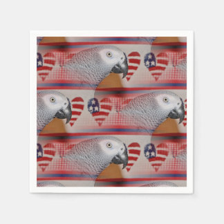 African Grey Parrot 4th of July Disposable Napkins
