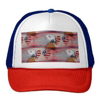 African Grey Parrot 4th of July Trucker Hat