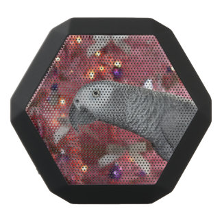 African Grey Parrot and Icy Pink Christmas Tree Black Bluetooth Speaker