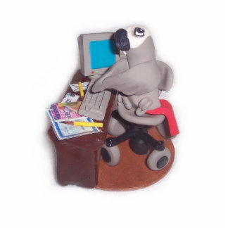 African Grey Parrot at Computer Cutout