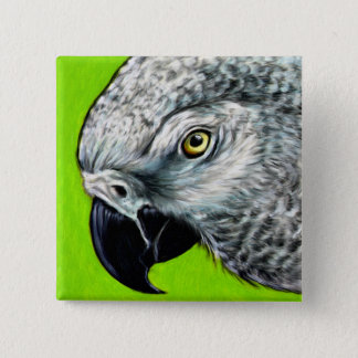 African Grey Parrot Button