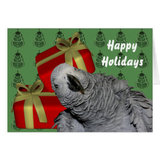 African Grey Parrot Christmas Holiday Card