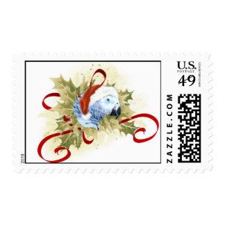 African Grey Parrot Christmas Stamps