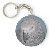 African Grey Parrot Keychain