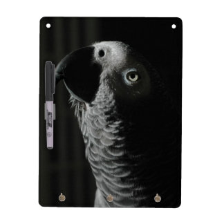 African Grey Parrot Keychain Dry Erase Board