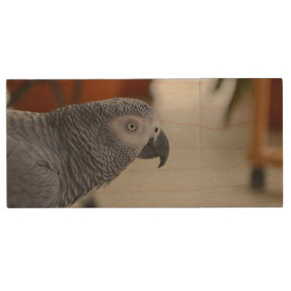 African Grey Parrot Wood USB 3.0 Flash Drive