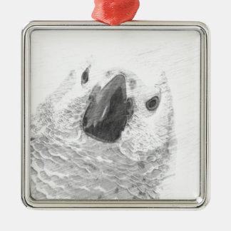 African Grey Parrot Metal Ornament