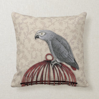 African Grey Parrot on Red Birdcage Throw Pillow
