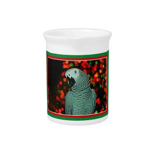 African Grey Parrot Painting with Christmas Tree Beverage Pitcher