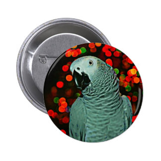 African Grey Parrot Painting with Christmas Tree Button