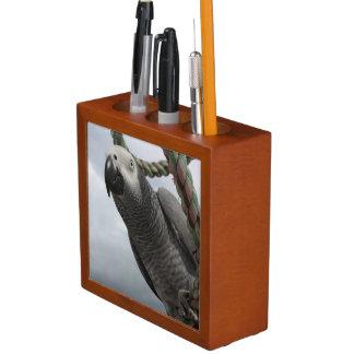 African Grey Parrot Pencil Holder Desk Organizer