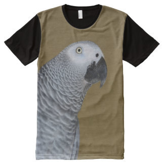 African Grey Parrot Profile All-Over-Print T-Shirt