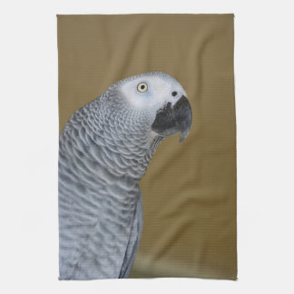 African Grey Parrot Profile Kitchen Towel