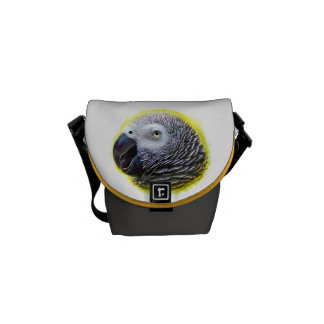 African grey parrot realistic painting messenger bag