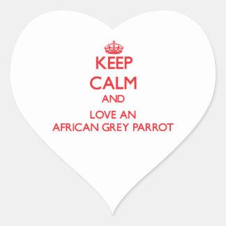 African Grey Parrot Heart Sticker
