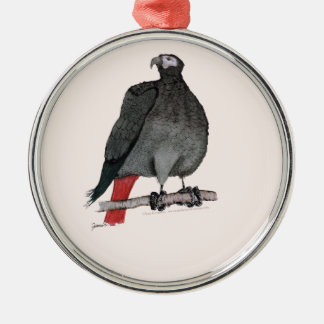 african grey parrot, tony fernandes metal ornament