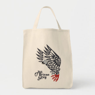 African grey parrot tribal tattoo grocery tote bag