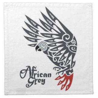 African grey parrot tribal tattoo cloth napkin