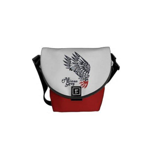 african grey parrot tribal tattoo messenger bag zazzle. Black Bedroom Furniture Sets. Home Design Ideas