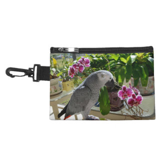 African Grey Parrot with Orchids Accessory Bag