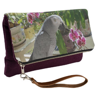 African Grey Parrot with Orchids Clutch