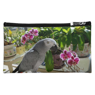 African Grey Parrot with Orchids Cosmetic Bag