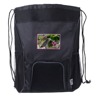 African Grey Parrot with Orchids Drawstring Backpack