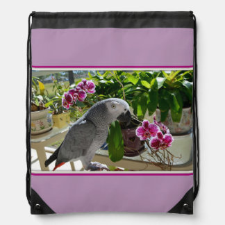 African Grey Parrot with Orchids Drawstring Bag