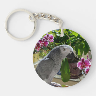 African Grey Parrot with Orchids Key Chain