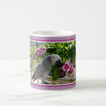 African Grey Parrot with Orchids Magic Mug
