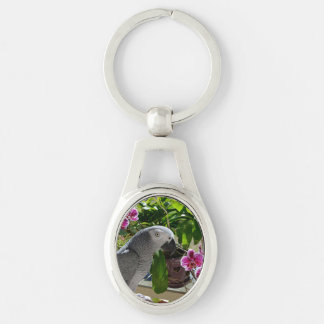African Grey Parrot with Orchids Keychains