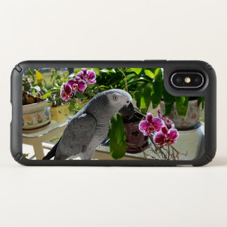 African Grey Parrot with Orchids Speck iPhone X Case