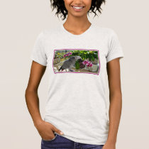 African Grey Parrot with Orchids T-Shirt