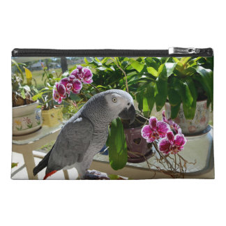 African Grey Parrot with Orchids Travel Accessory Bag
