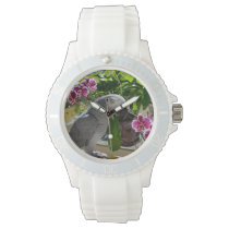 African Grey Parrot with Orchids Wristwatch