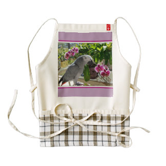 African Grey Parrot with Orchids Zazzle HEART Apron