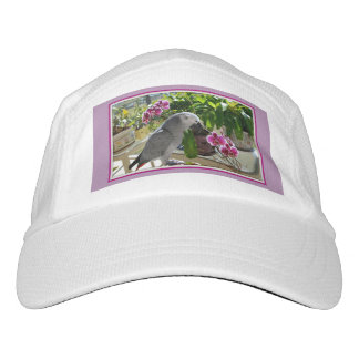 African Grey Parrot with Orchids Headsweats Hat