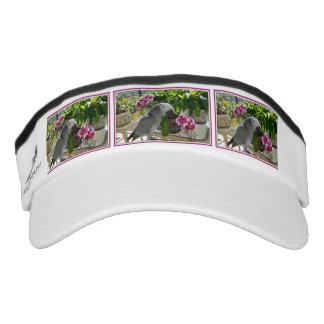 African Grey Parrot with Orchids Headsweats Visor