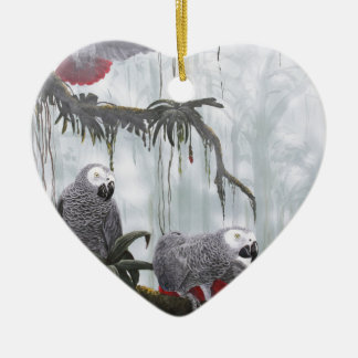 African Grey Parrots flying free Ceramic Ornament