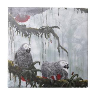 African Grey Parrots flying free Ceramic Tile