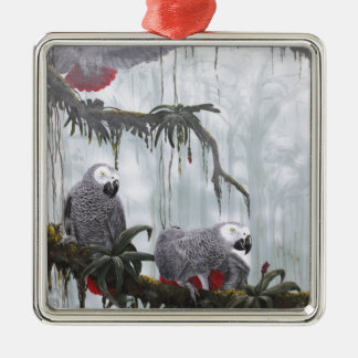 African Grey Parrots flying free Metal Ornament